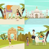 India 2x2 Design Concept Set Stock Images