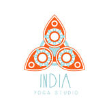 India yoga studio logo symbol. Health and beauty care badge, spa, yoga center label Royalty Free Stock Image