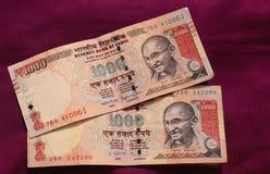 India zakazywał starą 500 i 1000 rupii notatkę Obrazy Royalty Free