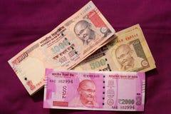 India zakazywał starą 500 i 1000 rupii notatkę Obrazy Stock