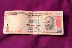 India zakazywał starą 500 i 1000 rupii notatkę Zdjęcie Royalty Free