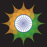 India zaznacza stylizowanego kwiatu bielu zieleni błękita pomarańczowego szafranowego chakra ilustracji