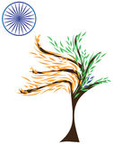 India zaznacza stylizowanego pomarańczowego szafran zieleni liści błękita chakra ilustracji