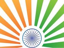 India zaznacza stylizowanego pomarańczowego szafran zieleni promieni błękita chakra ilustracji