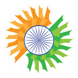 India zaznacza stylizowanego pomarańczowego szafranowego biel zieleni błękita chakra ilustracja wektor
