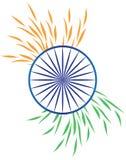 India zaznacza stylizowanych liści bielu zieleni błękita pomarańczowego szafranowego chakra royalty ilustracja