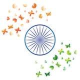 India zaznacza stylizowanych motyli bielu zieleni błękita pomarańczowego szafranowego chakra ilustracji