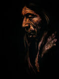 Indian. Portrait of old Indian men acrylic painted.Picture I have created myself Stock Image