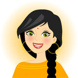 Indian. Illustration of smiling indian girl Stock Photo