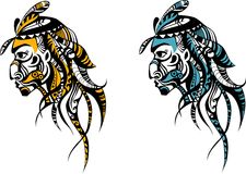 Indian. Vector Illustration of a indian tattoo Stock Images