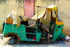 Indian Accidental CNG auto in Delhi. Delhi,India- March 16,2019:Indian Accidental auto rickshaws in Delhi street. Auto rickshaws also called `tuk tuk` provide royalty free stock photo