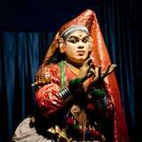 Indian actor performing traditional dance Kathakali. India, Kerala Stock Photography