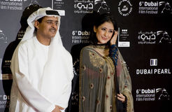Indian Actress Manisha Koiralla with DIFF chairman. Abdul Hamid Juma on the red carpet during 6th Dubai International Film Festival held in Madinat Jumeirah Royalty Free Stock Image