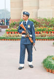 An Indian Air Force guard on duty. An Indian Airforce guard on duty at India Gate, New Delhi, in fully decorated uniform and service rifle stock photos