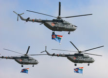 Indian Air Force Mi-17. Helicopters fly pass Royalty Free Stock Photos
