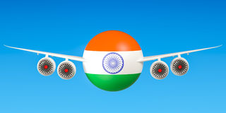 Indian airlines and flying& x27;s, flights to India concept. 3D rende Royalty Free Stock Photos