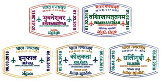 Indian Airport Stamps Royalty Free Stock Photo