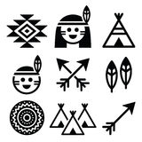 Indian American, indigenous people and culture icons set Stock Photos