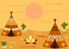 Indian american native teepee tent cartoon background illustration Royalty Free Stock Photos