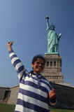 Indian American Woman at Statue of Lib Stock Photo