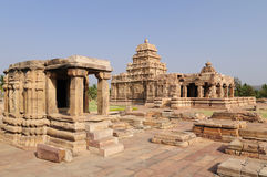Indian ancient architeckture in the archaeological place in Pattadakal Royalty Free Stock Photo