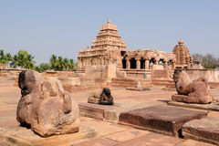 Indian ancient architeckture in the archaeological place in Pattadakal Royalty Free Stock Image