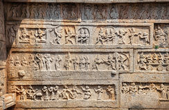 Indian ancient basrelief in Hampi Royalty Free Stock Photography