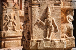 Indian ancient basrelief in Hampi Royalty Free Stock Photos