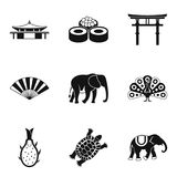 Indian animal icons set, simple style. Indian animal icons set. Simple set of 9 indian animal vector icons for web isolated on white background Royalty Free Stock Photography