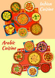 Indian and arabic cuisine traditional dishes icon Royalty Free Stock Photo