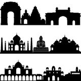 Indian architecture. Outlines of buildings and architectural structures. Illustration on white background Royalty Free Stock Images