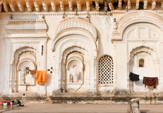 Indian architecture example. Old walls of indian family house with carvings and decoration, India Stock Photography