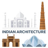 Indian Architecture. Modern flat design. Taj mahal, Lotus temple, gateway of India, Qutab Minar. Royalty Free Stock Photos