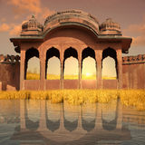 Indian architecture. Indian architecture near Ganges river in the sunset Royalty Free Stock Photos