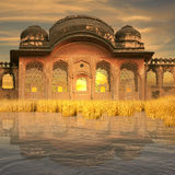 Indian architecture. Indian architecture near Ganges in the sunset Royalty Free Stock Photos
