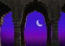 Indian architecture at night. Moonlit Indian architecture at night, ancient construction Stock Photos