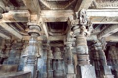 Indian architecture, 12th century stone temple Hoysaleswara with ancient columns, India stock photos
