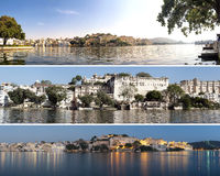 Indian architecture in Udaipur Rajasthan. Panoramic view Royalty Free Stock Images