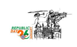 Indian armed forces poster or banner, Indian Republic day concep. T with text 26 January, vector illustration Stock Images