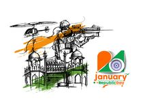 Indian armed forces poster or banner, Indian Republic day concep. T with text 26 January, vector illustration Stock Photo