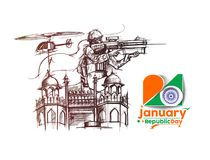Indian armed forces poster or banner, Indian Republic day concep. T with text 26 January, vector illustration Stock Photography