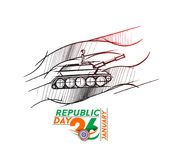 Indian armed forces poster or banner, Indian Republic day concep. T with text 26 January. vector illustration Royalty Free Stock Photos