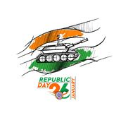 Indian armed forces poster or banner, Indian Republic day concep. T with text 26 January. vector illustration Stock Photography