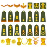 Indian Army insignia. Epaulets, military ranks and insignia. Illustration on white background Royalty Free Stock Photography