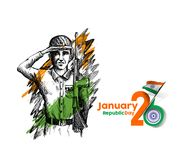 Indian army showing victory of india. Indian Republic day concep. T with text 26 January Royalty Free Stock Image
