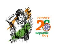 Indian army showing victory of india. Indian Republic day concep. T with text 26 January Stock Photography