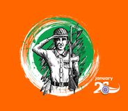 Indian army showing victory of india. Indian Republic day concep. T with text 26 January. vector illustration Stock Photos
