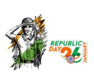Indian army showing victory of india. Indian Republic day concep. T with text 26 January. vector illustration Royalty Free Stock Photos