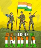 Indian army showing victory of India. In vector Royalty Free Stock Images