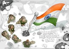 Indian Army soilder saluting falg of India on Happy Republic Day. Illustration of Indian Army soilder saluting falg of India on Happy Republic Day royalty free illustration
